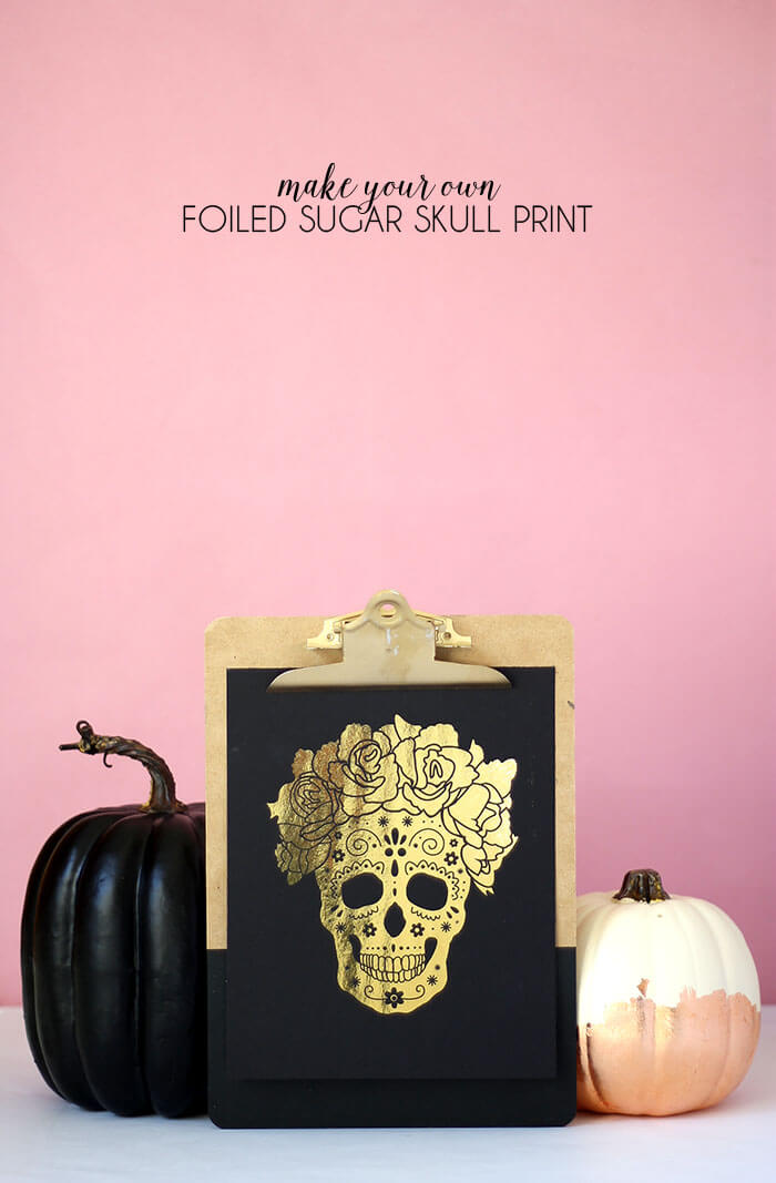 make your own foiled sugar skull prints - free download