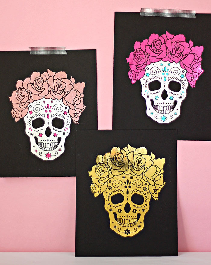 make your own foiled sugar skull prints