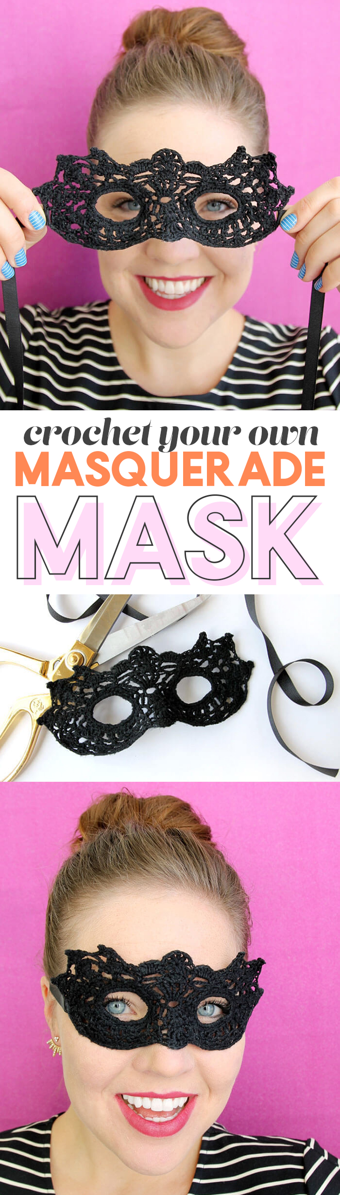 learn how to make your own crochet masquerade mask - free crochet pattern for halloween