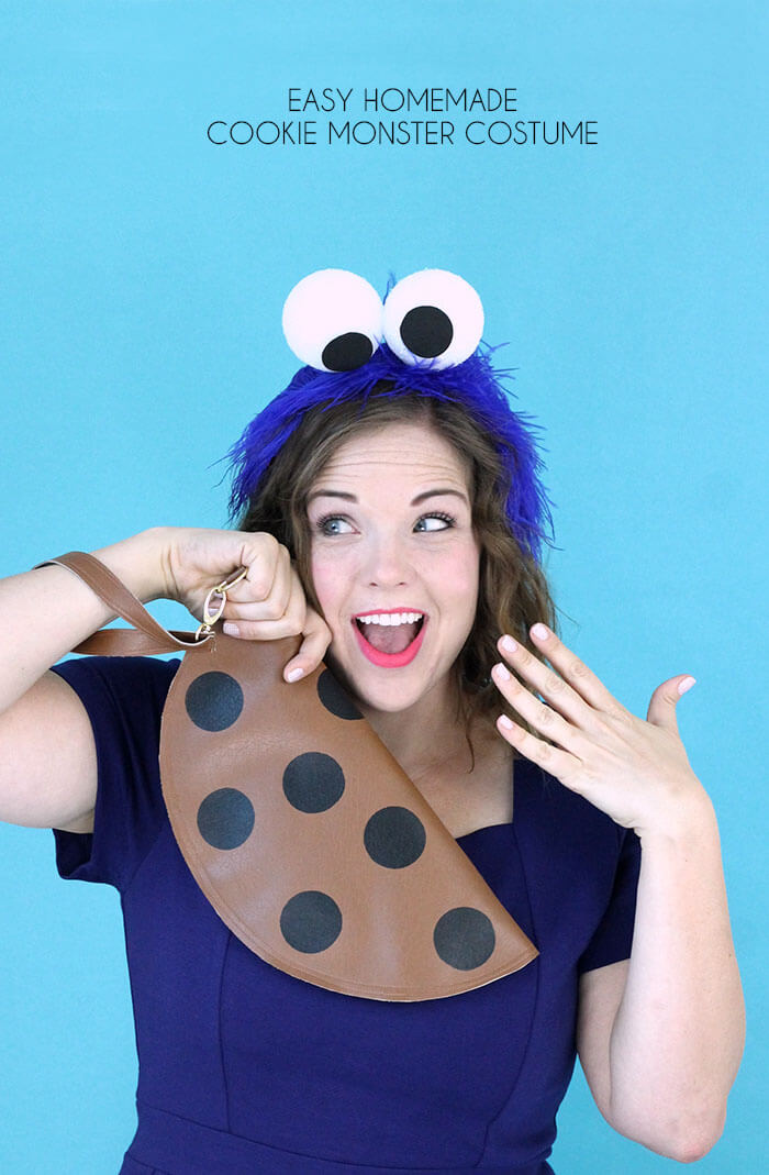Make your own super easy, last minute cookie monster costume. Cute homemade costume for women