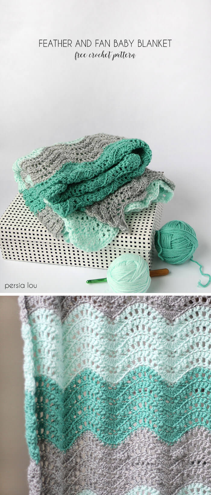 Crochet Baby Blanket Patterns Easy Free : Feather and Fan Baby Blanket Crochet Pattern - Persia Lou