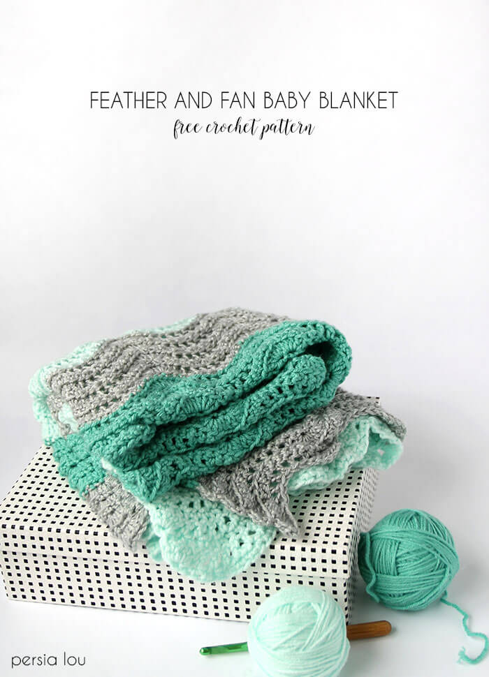 Crochet Feather And Fan Baby Blanket Free Pattern Persia Lou