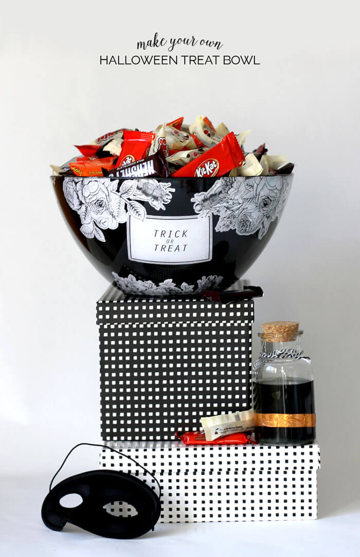 make your own creepy & pretty Halloween treat bowl