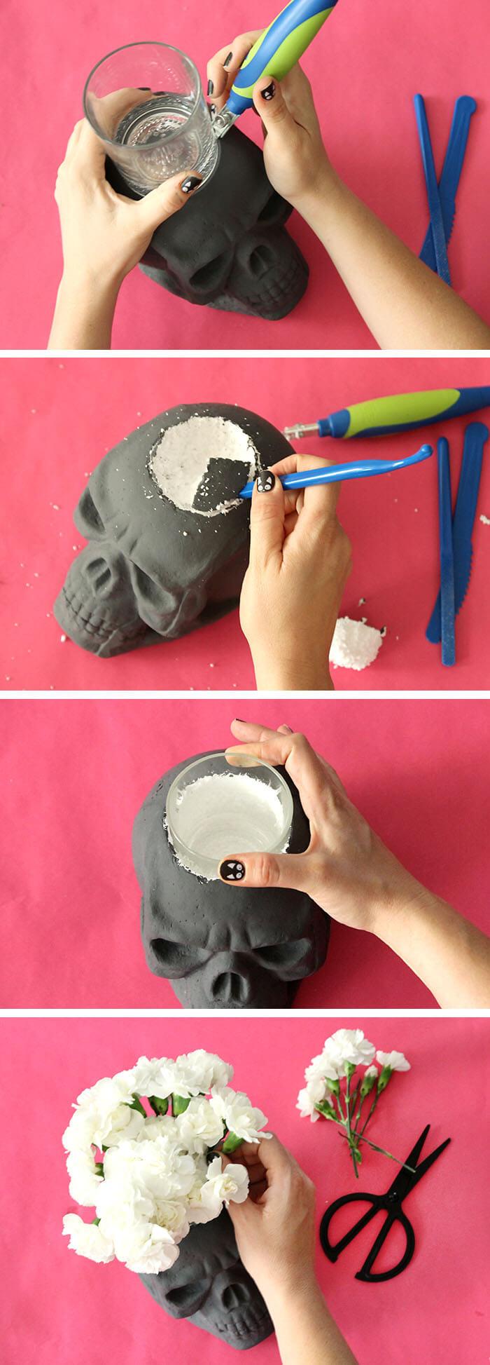 diy skull vase and halloween party decor