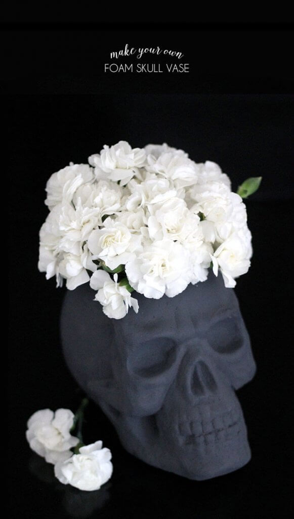 make your own foam skull vase for halloween