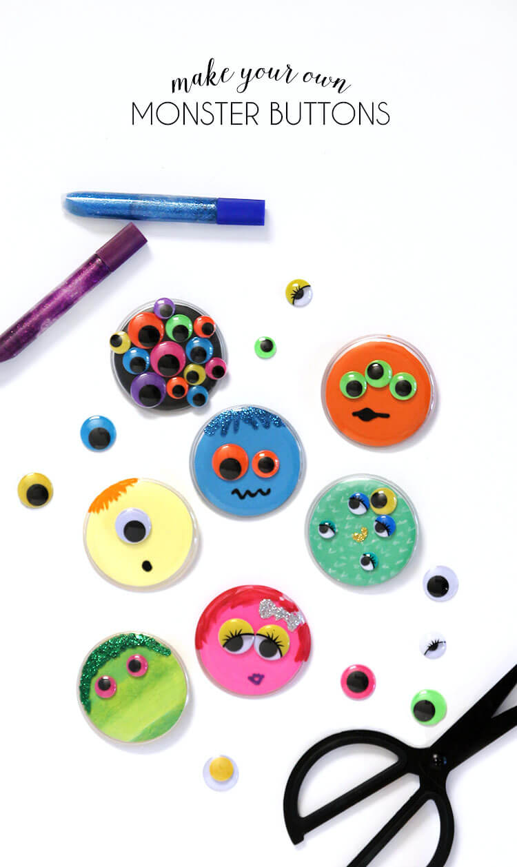 make your own monster buttons - super easy and fun kids' craft