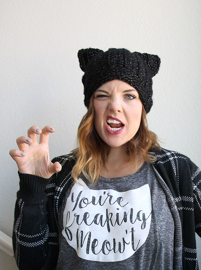 2523146e0 Black Cat Slouch Hat - Free Crochet Cat Hat Pattern - Persia Lou