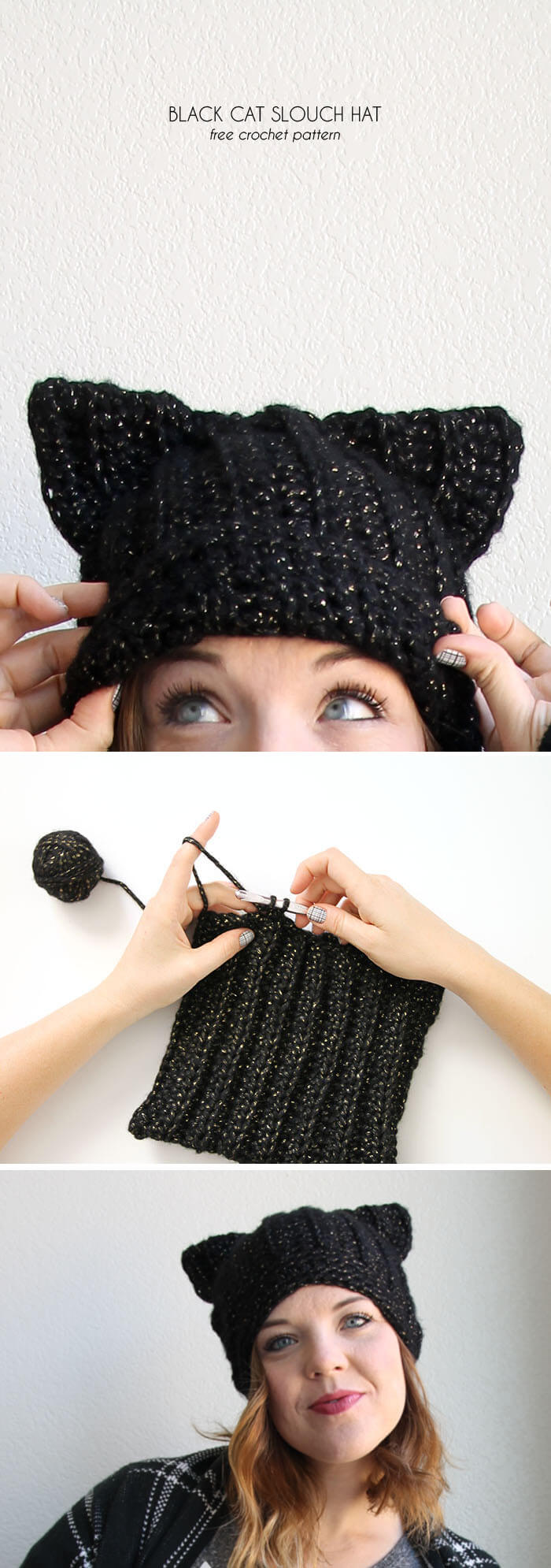 Crochet Pattern For A Hat For A Cat : Black Cat Slouch Hat - Free Crochet Cat Hat Pattern ...
