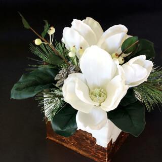 Marble & Copper Cube Winter Floral Arrangement