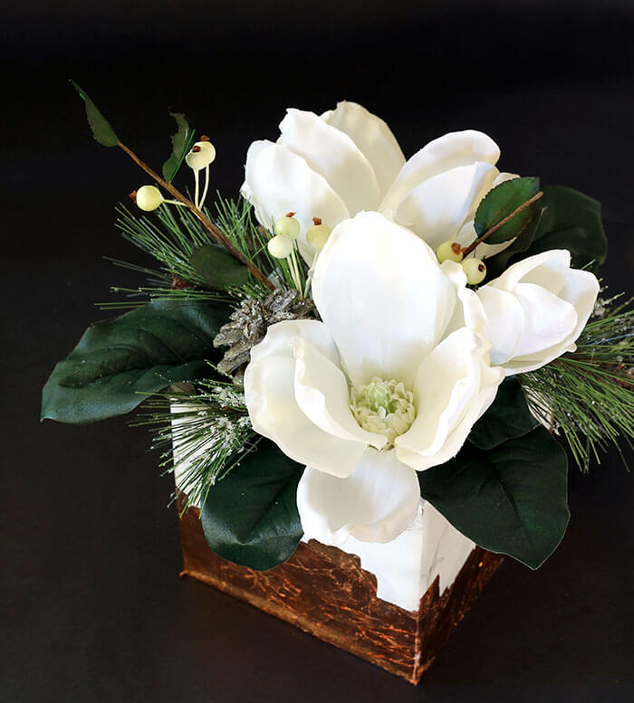 Marble & Copper Cube Winter Floral Arrangement