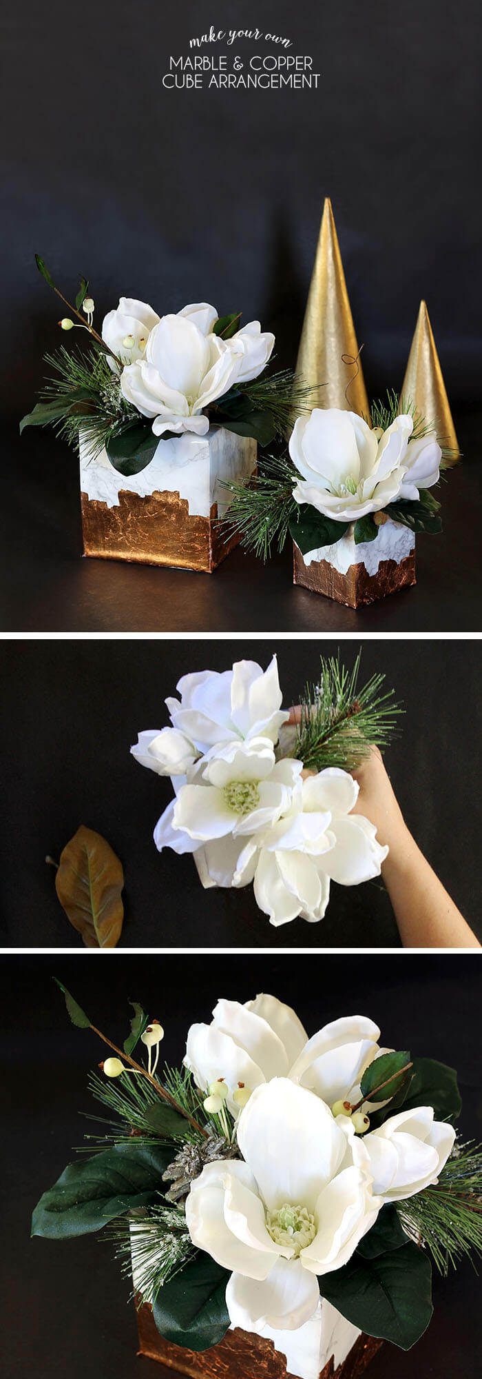 marble and copper cube arrangement - pretty winter floral craft