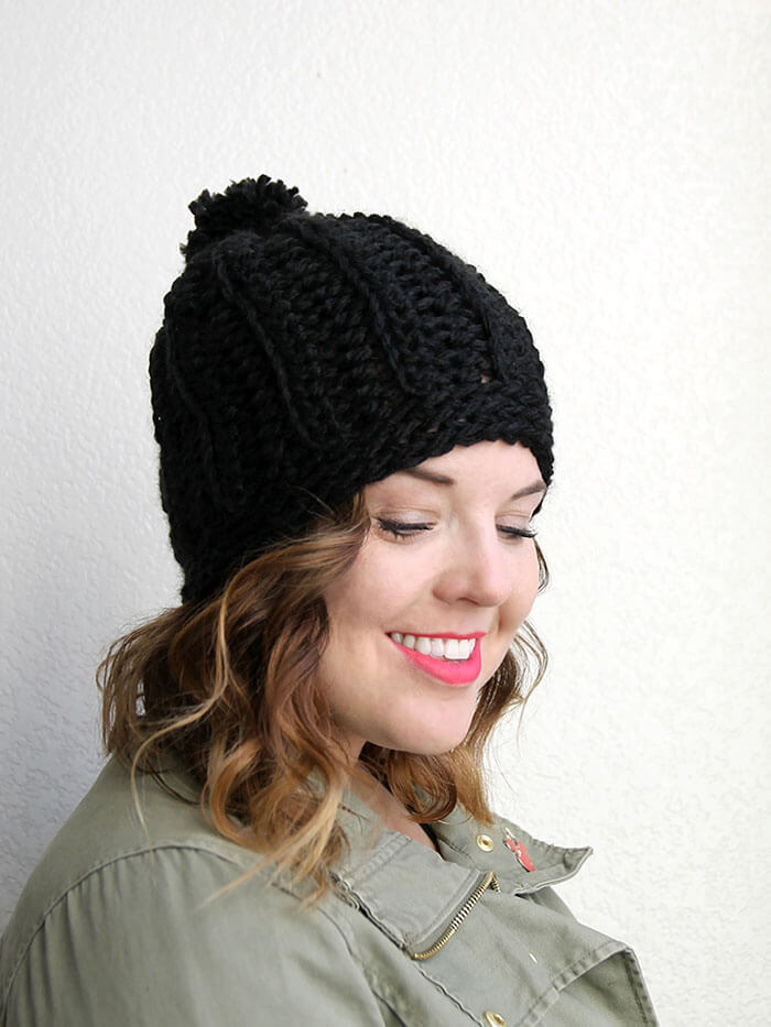 chunky ribbed slouch hat - free crochet pattern to make a cute chunky  crochet hat e4b7904aff5