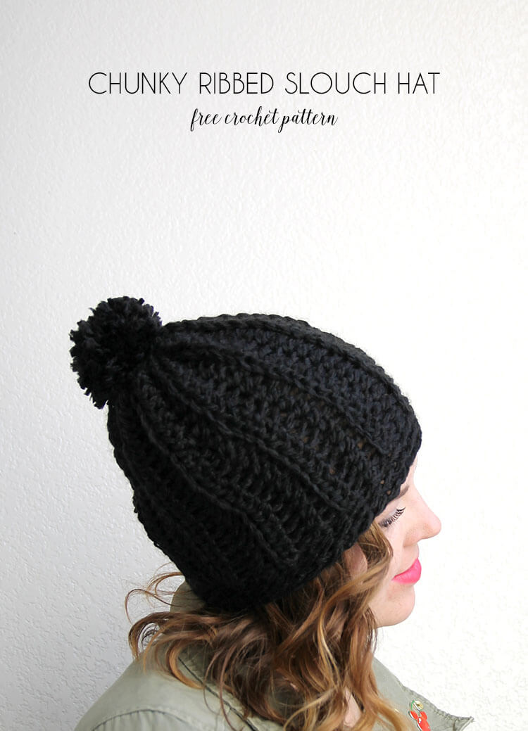 chunky ribbed slouch hat - free crochet pattern to make a cute chunky  crochet hat 612cbe1dc62
