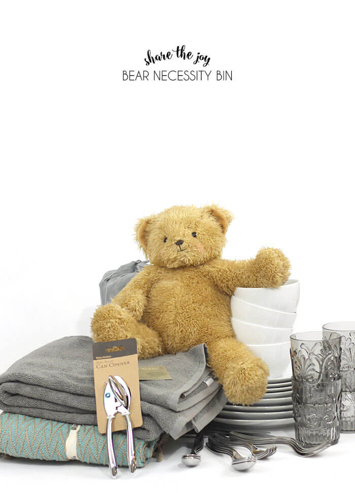 share the joy bear necessity bin