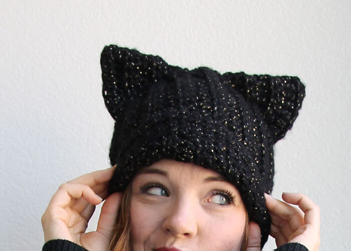 crochet cat slouch hablack cat hat - free crochet pattern (with video!) from persia lou