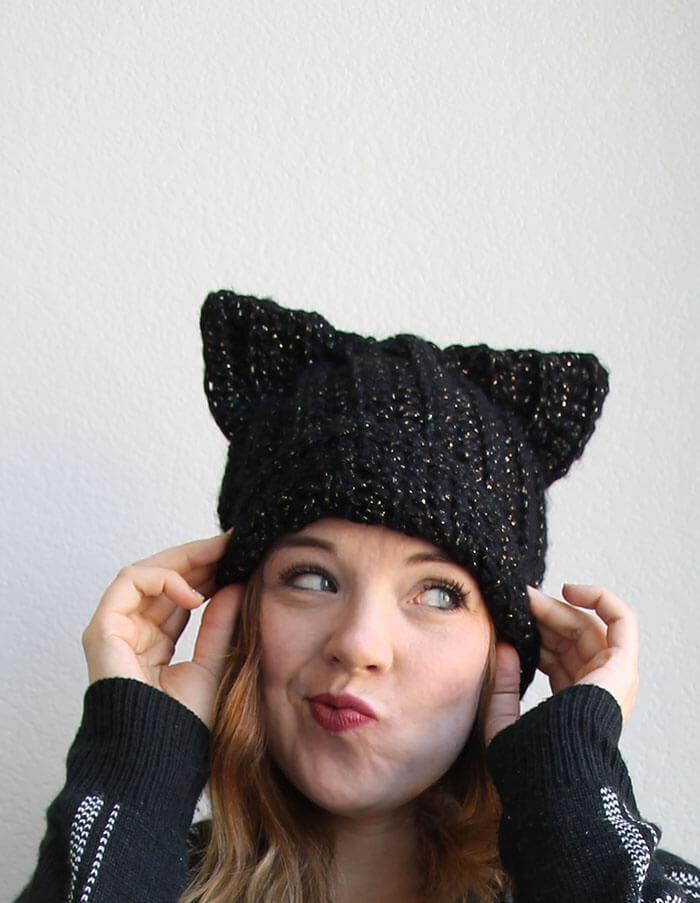 7a61750552d Black Cat Slouch Hat - Free Crochet Cat Hat Pattern - Persia Lou