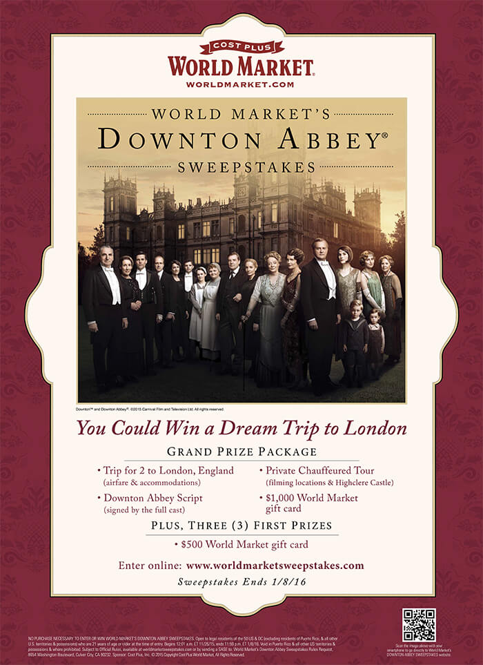 Downton Abbey World Market Sweepstakes
