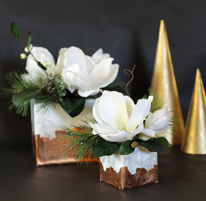 Marble Amp Copper Cube Winter Floral Arrangement Persia Lou