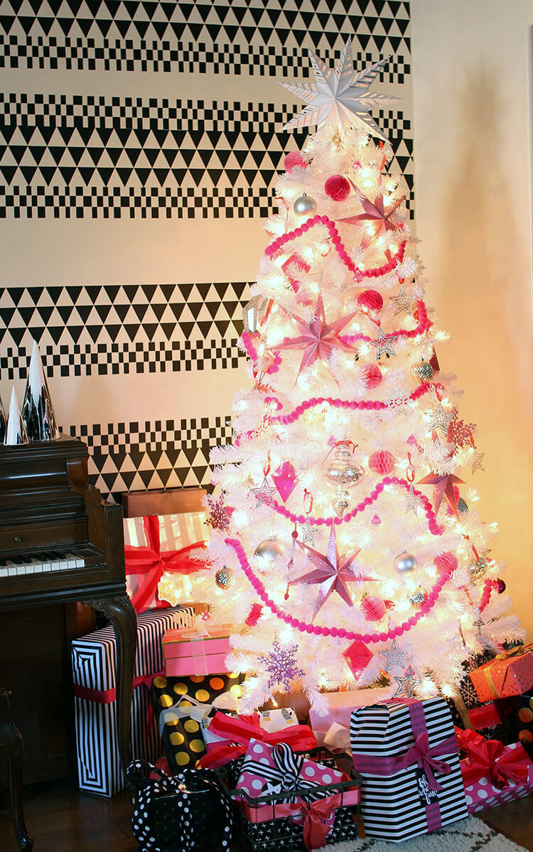 pink, black, and white christmas decor