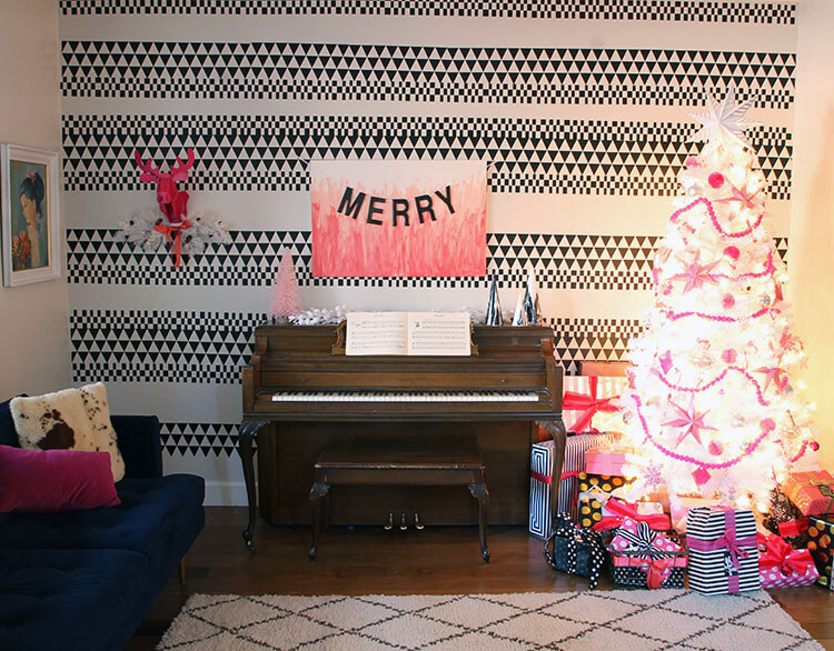 pink, black, and white christmas decor