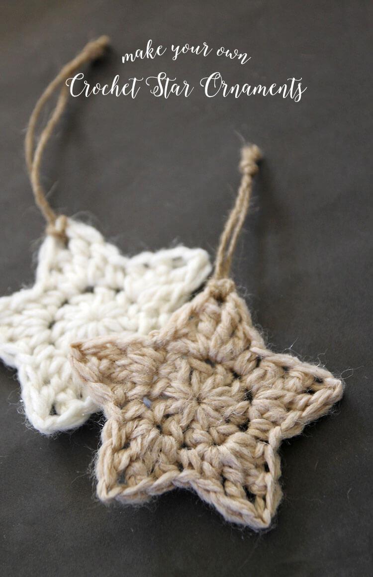 8032c2712 simple crochet star Christmas ornaments - free pattern
