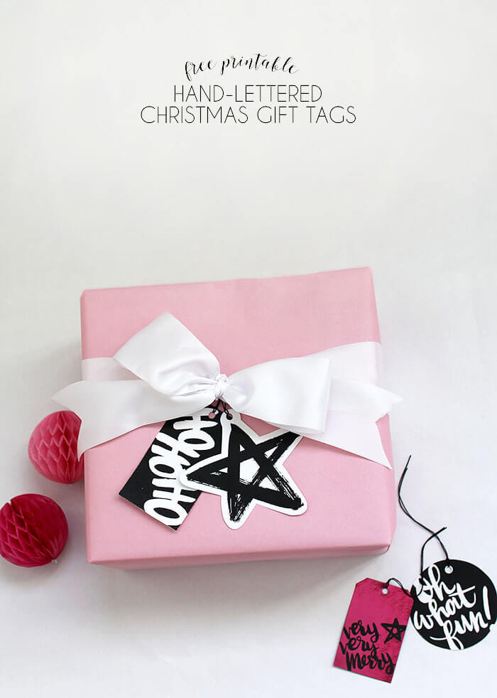 Free Printable Hand-Lettered Black and White Christmas Gift Tags ...
