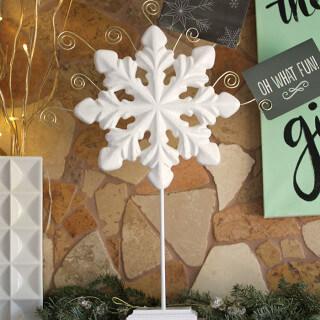 make your own snowflake christmas card holder - simple diy using foam
