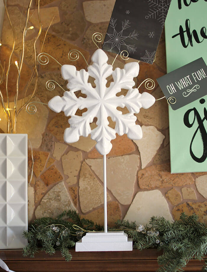 make your own snowflake christmas card holder - simple diy using foam