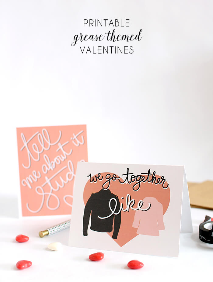 printable grease valentines header