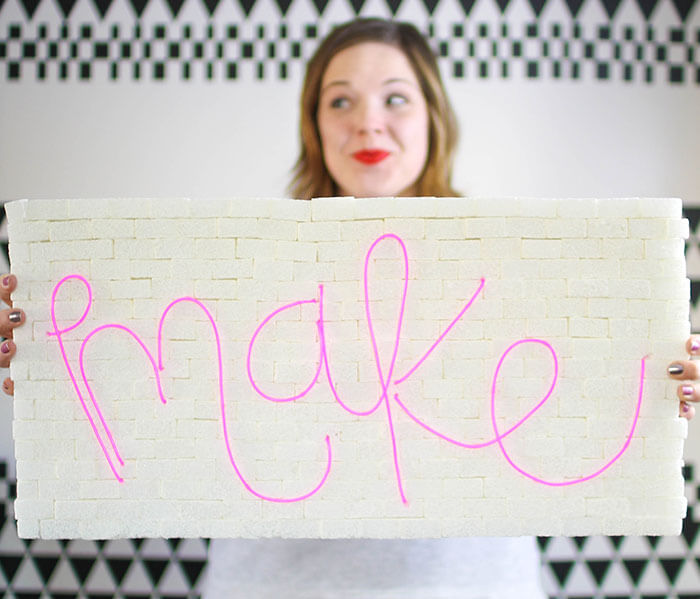 How to Make a DIY Brick & Neon Sign with EL Wire - Persia Lou