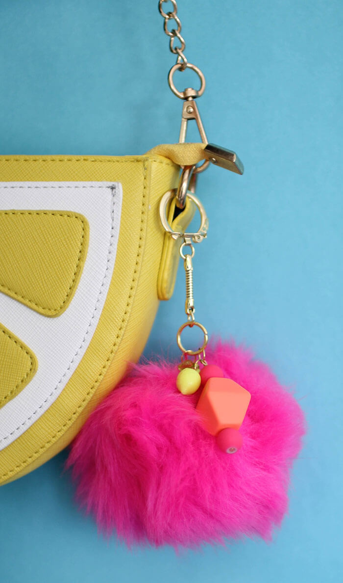 make your own giant pom pom keychain - a fun, quick, trendy craft