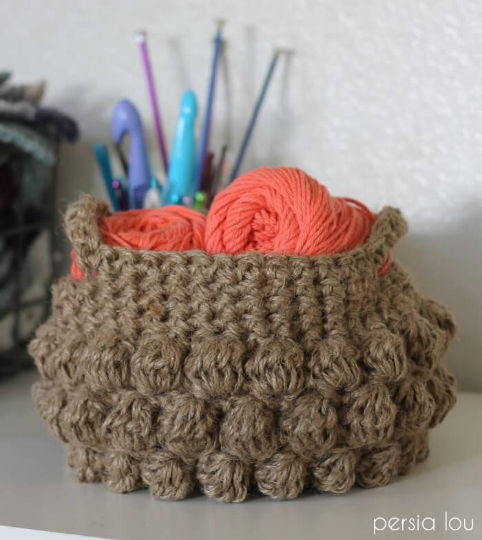 crochet jute bobble basket pattern