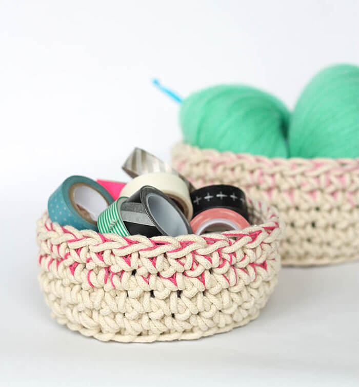 Color Block Crochet Baskets by Persia Lou