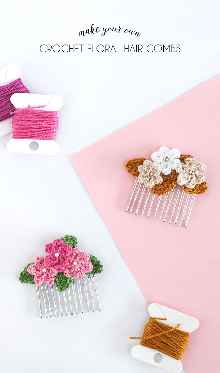 make your own pretty floral hair combs with itty bitty crocheted flowers