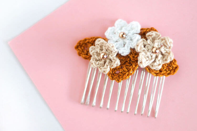 Crocheted Floral Hair Combs at Crafts Unleashed