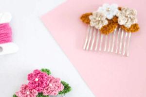 Crochet Flower Hair Combs