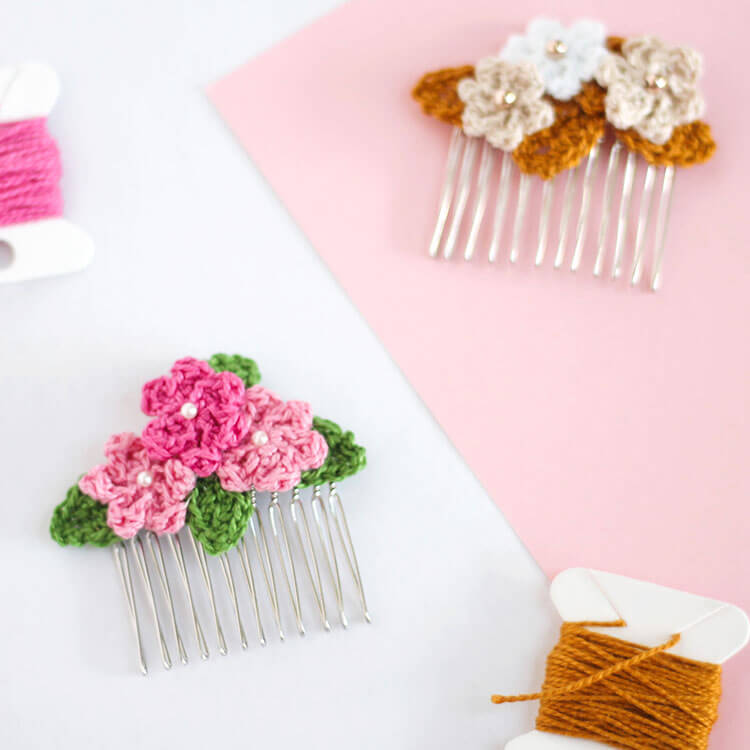 Crochet Flower Hair Combs Persia Lou