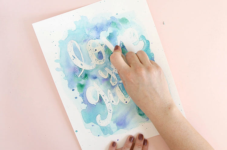 easy watercolor art - make pretty designs using a simple rubber cement resist technique - learn how to do it yourself with this full photo tutorial