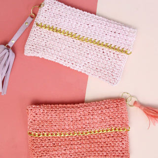 Chain Edge Raffia Crochet Clutch Pattern
