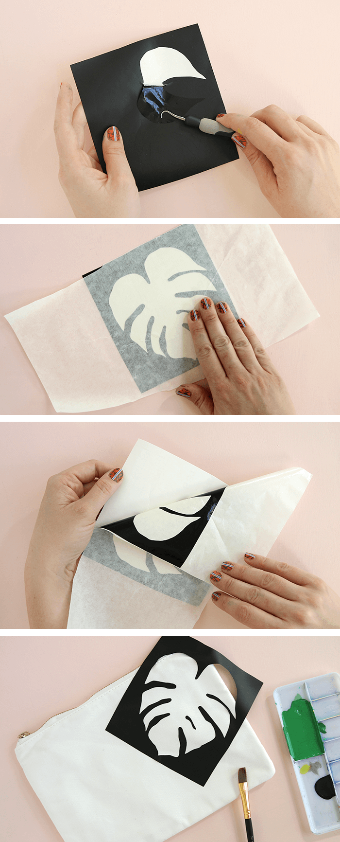 vinyl stencil - make your own palm leaf pencil pouch