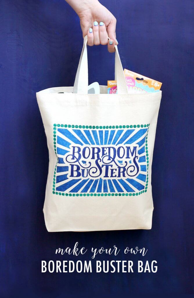 Kids Boredom Busters Bag - simple project to keep the kids busy this summer or while traveling