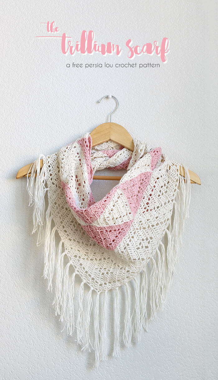 trillium scarf free triangle scarf crochet pattern from persia lou
