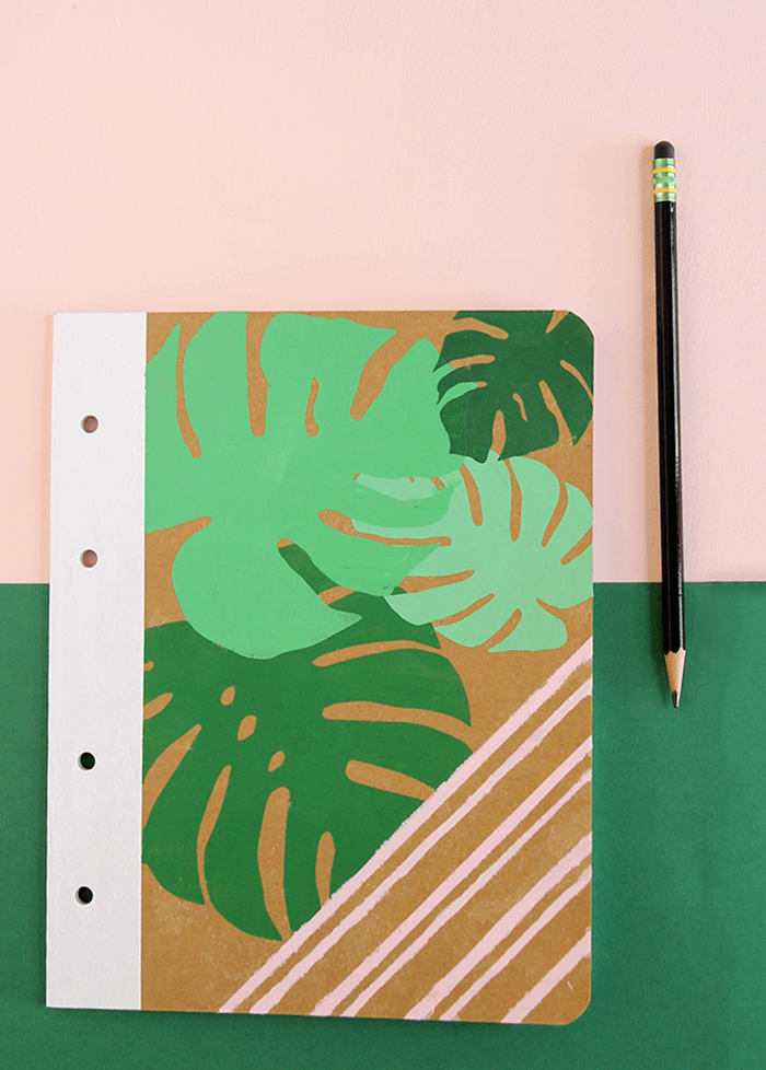 palm leaf notebook DIY