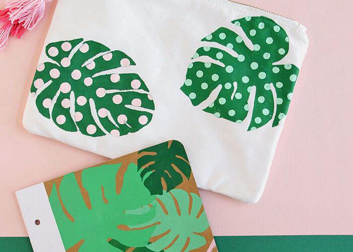 Paint Your Own Palm Leaf Pencil Pouch