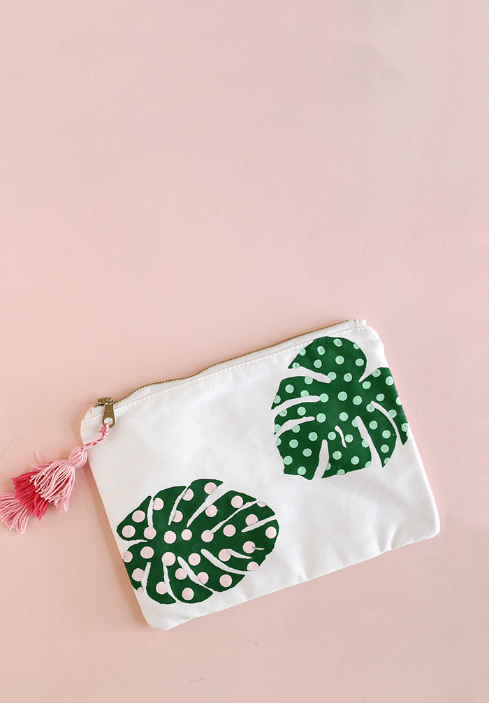 cute DIY palm leaf pencil pouch