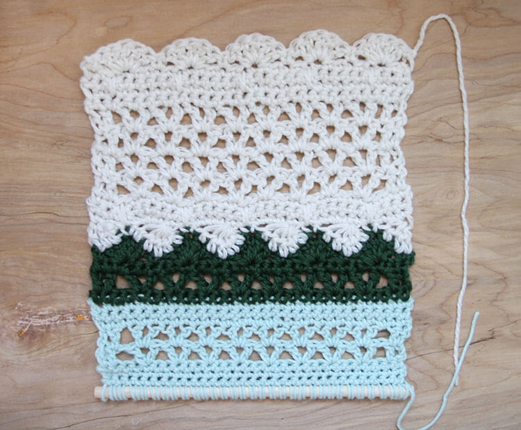 crochet wall hanging third section