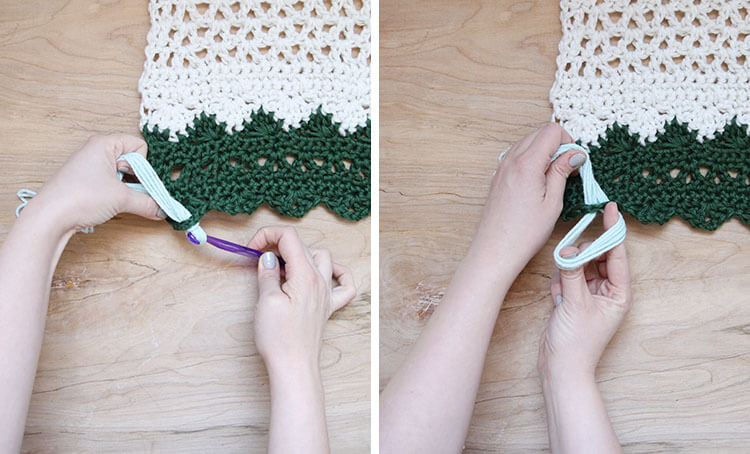 crochet wall hanging add tassels