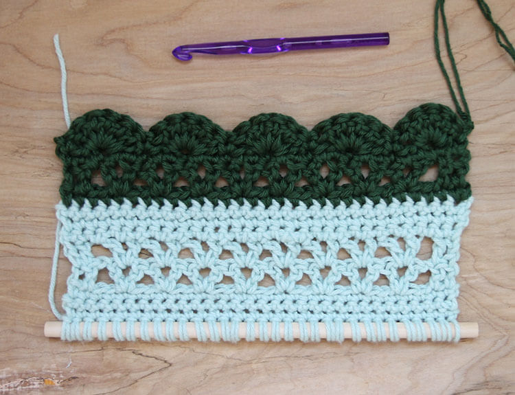 crochet wall hanging second section