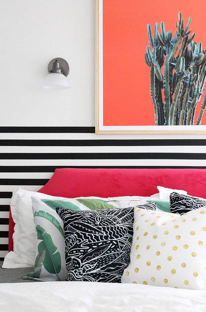 colorful modern bedroom - easy stripe walls need love wall - so easy to apply