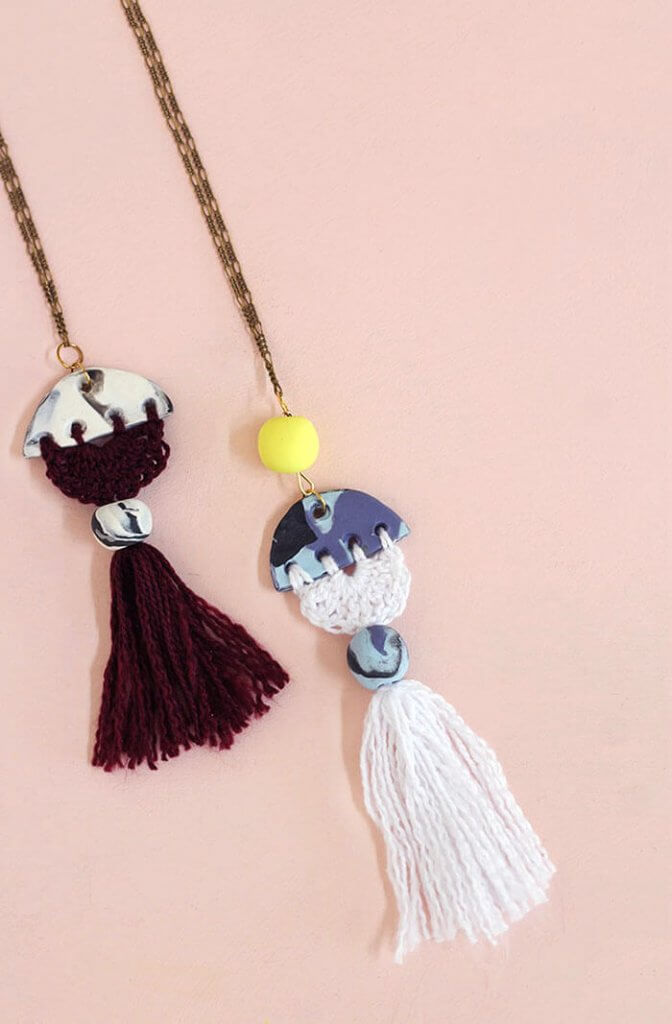 Modern Tassel DIY Necklace – Clay and Crochet Jewelry